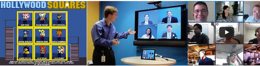 Video conferencing with retwo grid display